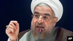 Tổng thống Iran Hassan Rouhani phát biểu tại một cuộc họp báo ở New York, ngày 26/9/2014.