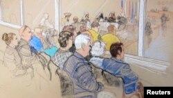 Para anggota keluarga korban serangan 9/11 menghadiri sidang pra-peradilan bagi para tersangka teroris di Teluk Guantanamo, Kuba.