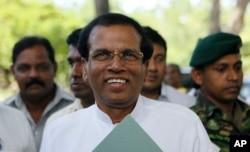 FILE - Maithripala Sirisena, former Sri Lankan health minister, is making a strong bid for the presidency.