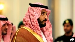 FILE - Saudi Deputy Crown Prince Mohammed bin Salman, shown at a summit of Arab and Latin American leaders in Riyadh in November 2015, has said the Saudi-established Islamic alliance will coordinate mutual anti-terrorism assistance across the Islamic world.
