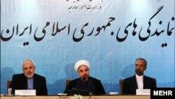 حسن روحانی رئیس جمهوری ایران در جمع کارکنان وزارت خارجه