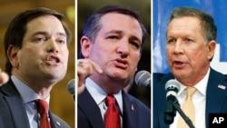 共和党总统参选人(从左至右) 卢比奥、克鲁兹、卡西奇。