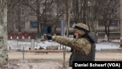 Shelling Damage in Kramatorsk, Ukraine, Feb. 10, 2015