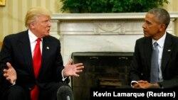 도널드 트럼프 미국 대통령 당선인(왼쪽)이 10일 바락 오바마 미국 대통령과 백악관에서 만남을 가졌다.