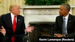 Prezidan Obama ak Prezidan eli Lèzetazini an, Donald Trump, nan Salon Oval Mezon Blanch la jedi 10 novanm 2016 la.