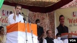 کانگریس کے لیڈر راہول گاندھی سری نگر میں پارٹی کے نئے مرکزی دفتر کے افتتاح کے موقعے پر خطاب کررہے ہیں۔
