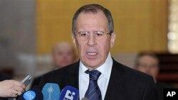 7일 시리아에서 기자회견을 가진 세르게이 라브로프 러시아 외무장관