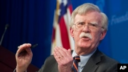 FILE - National Security Adviser John Bolton speaks at the Heritage Foundation in Washington, Dec. 13, 2018.