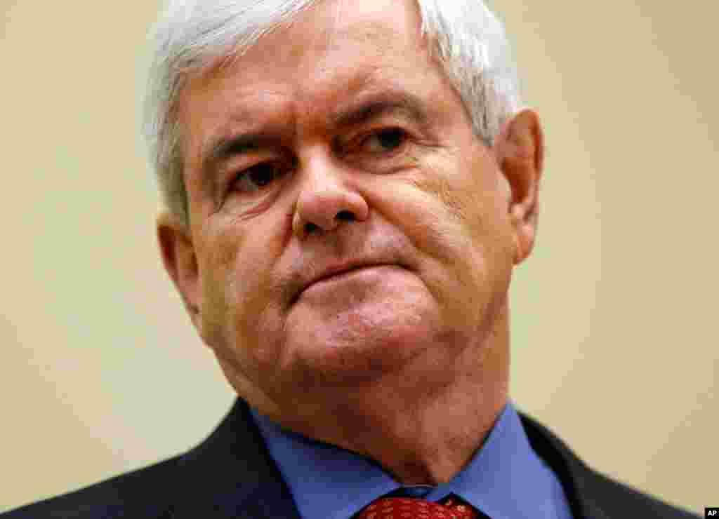 """纽特.金里奇,前乔治亚州国会众议员,任议员期间曾担任国会众议院议长。在共和党内有""""思想家""""之称,常批评奥巴马的外交政策。但他竞选开局不利,遇到一些磕磕绊绊。"""
