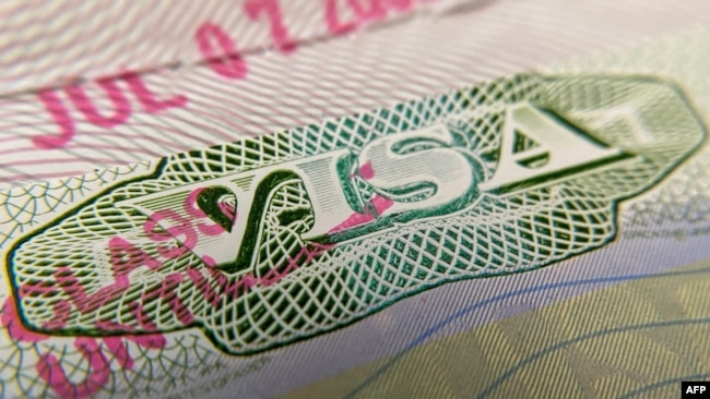 FILE - A photo illustration shows a U.S. visa stamp on a foreign passport in Los Angeles, California, June 6, 2020.