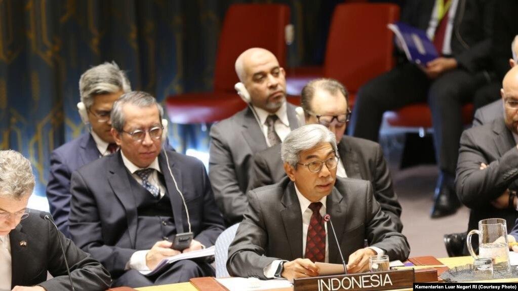 Wakil Menteri Luar Negeri Indonesia A.M. Fachir dalam sidang DK PBB di New York, Selasa, 26 Maret 2019, mengecam kekerasan yang dilakukan Israel di Jalur Gaza. (Foto: Kementerian Luar Negeri RI)