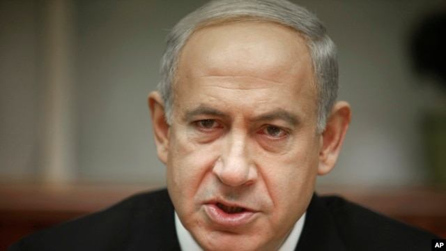 Israeli Prime Minister Benjamin Netanyahu attends the weekly cabinet meeting in Jerusalem Jan. 20, 2013.