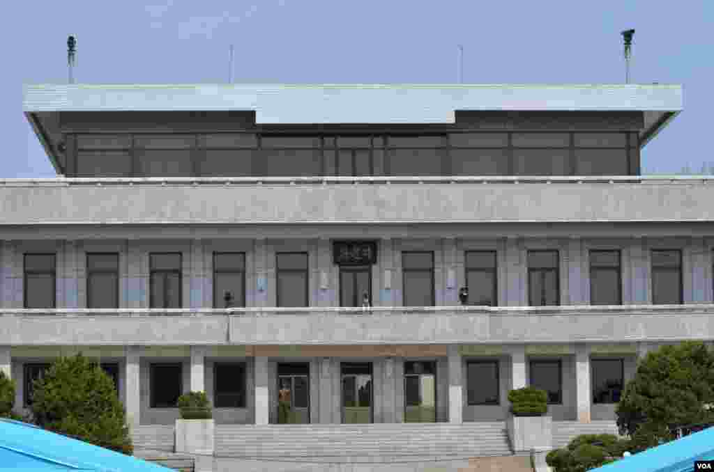 North Korea's Panmungak Building in the Joint Security Area, April 17, 2013. (VOA/S. Herman)