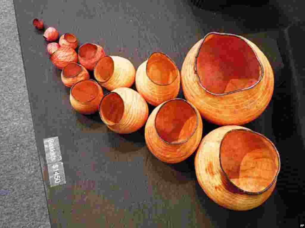 Baskets in Madrone wood made by sculptor and wood turner Christian Burchard.