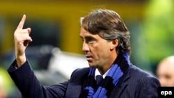Roberto Mancini lors d'un match de ligue des champions entre l'Inter de Milan et le CSK Moscou, Italie le 14 Novembre 2014