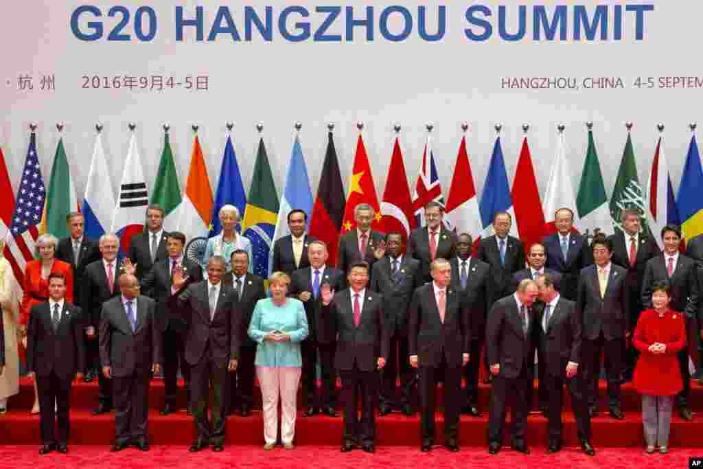 参加G20杭州峰会的各国领导人合影(2016年9月4日)
