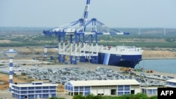 FILE - A photo taken Feb. 10, 2015, shows a general view of Sri Lanka's deep sea harbor port facilities at Hambantota.