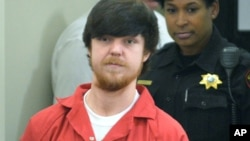 "Ethan Couch, l'adolescent surnommé ""affluenza"", en audience devant un tribunal de Tim Curry Justice Center à Fort Worth, Texas, le 13 avril 2016."