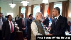 印度總理莫迪對美國的訪問,期間與美國奧巴馬總統會面。