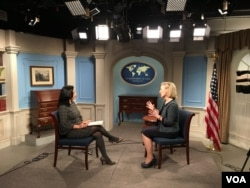 Alice Wells, Principal Deputy Assistant Secretary for South and Central Asian Affairs, talks to Navbahor Imamova, Voice of America Uzbek Service, Washington, February 22, 2018