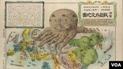 Yapon karikaturası Rus İmperiyasını dünyaya ağalıq etmək iddiasında olan oktopod kimi təsvir edir.