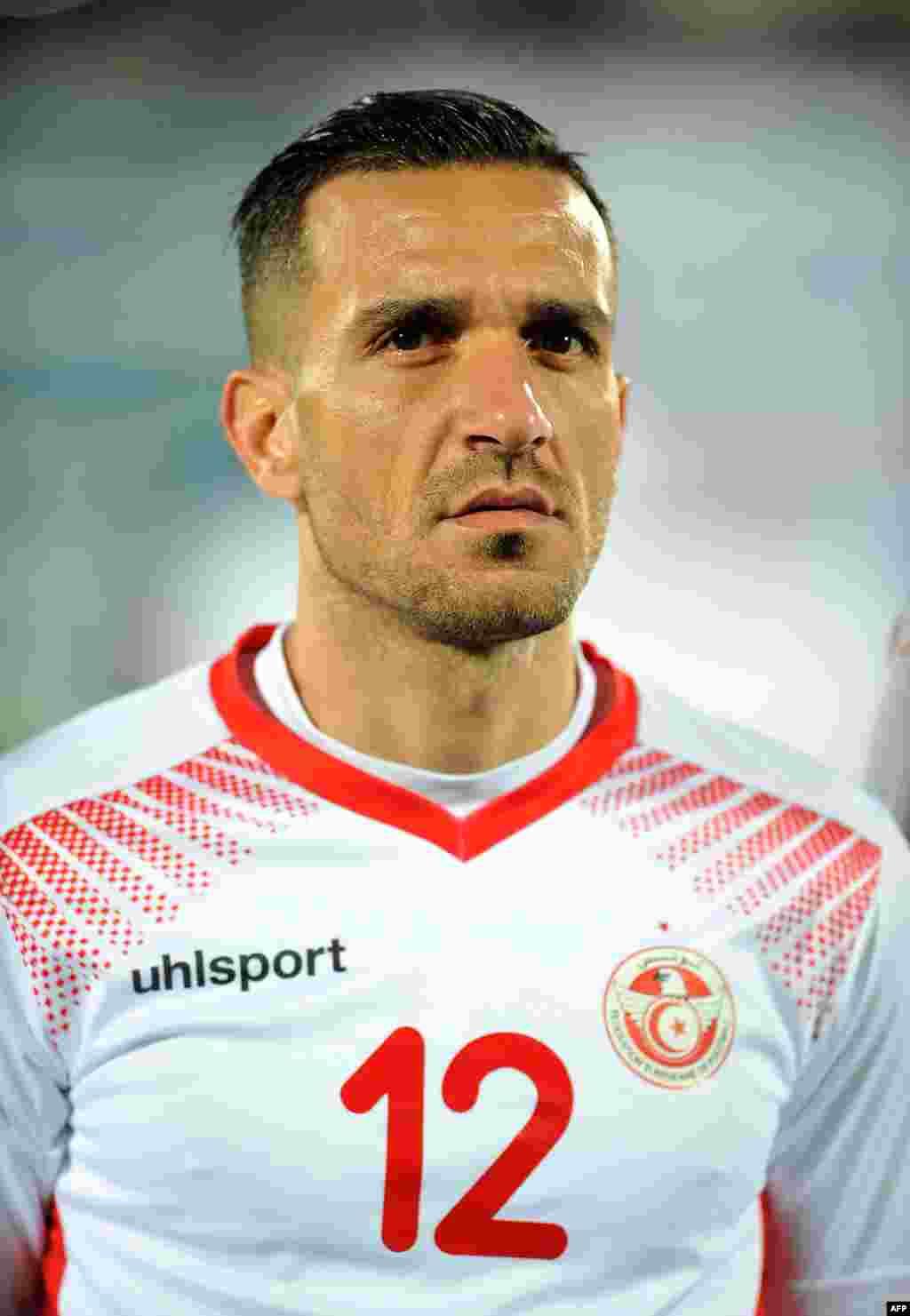 Le défenseur tunisien Ali Maaloul lors d'un match amical entre la Tunisie et le Cameroun le 24 mars 2017 au stade Ben Jannet à Monastir.