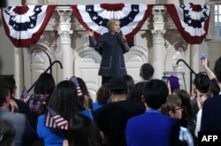 "Democratic presidential candidate former Secretary of State Hillary Clinton speaks during a ""Get Out The Vote"" event at the Old South Meeting Hall in Boston, Mass., Feb. 29, 2016."