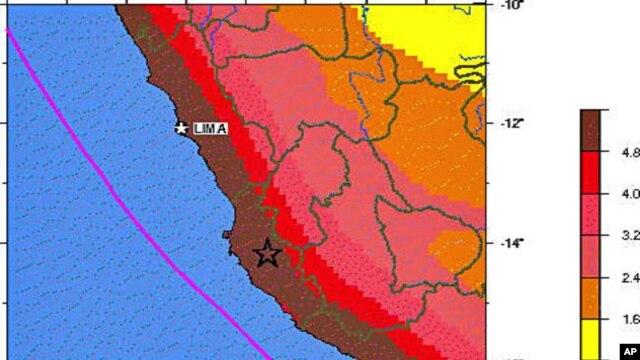 A USGS map highlighting seismic hazards in Peru