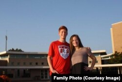 Twins Melissa and Ryan Hauptman, 17, in front of Stevenson High School.
