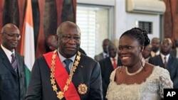 Lauren Gbagbo, l'ancien président ivoirienne et son épouse Simone.