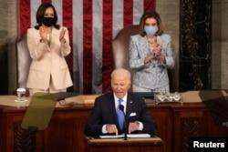 ABŞ Prezidenti Co Bayden, ABŞ-ın Vitse-Prezidenti Kamala Harris və ABŞ Nümayəndələr Palatasının spikeri Nensi Pelosi