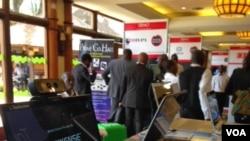 Tech companies showcase their latest innovations at Demo Africa in Nairobi, Kenya, Oct. 24, 2013. (G. Joselow/VOA)