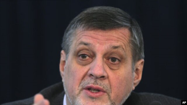 Jan Kubis, the United Nations special representative in Afghanistan, gestures during a news conference in Kabul, February 4, 2012.