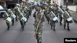A Sierra Leone army marching band parading ahead of Saturday's presidential election, Freetown, November 16 2012.