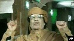 """텔레비전 연설에서 """"순교자로 죽겠다""""고 밝힌 무아마르 카다피"""