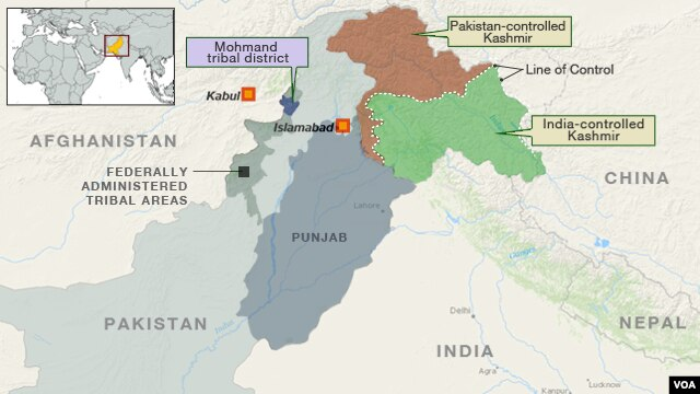 Map of Pakistan Showing Mohmand Tribal District.