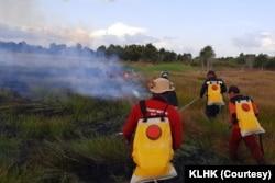 Karhutla terjadi di beberapa lokasi di Jawa Timur seperti Situbondo, Nganjuk, dan Madiun. (Foto: Courtesy/KLHK)