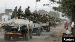 Chegada das tropas governamentais congolesas a cidade de Goma, 03 de Dez 2012.