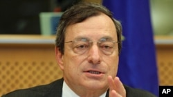 President of the European Central Bank Mario Draghi reports to the Economic Committee, in capacity as the head of the European Systemic Risk Board, at the European Parliament in Brussels, May 31, 2012.