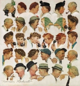 "This undated photo provided by Sotheby's shows the popular Norman Rockwell masterpiece ""The Gossips""."