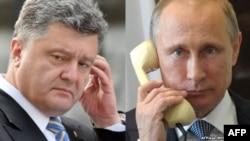 Presiden Rusia Vladimir Putin (kanan) melakukan pembicaraan telepon dengan Presiden Poroshenko Rabu 15/10 (foto: dok).