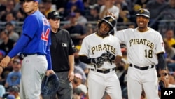 Pittsburgh Pirates' Gift Ngoepe, a native of South Africa, celebrates his first hit.
