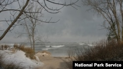 A winter storm whips the Indiana Dunes area