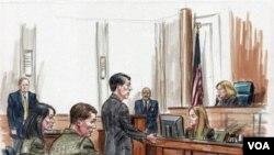 Sketsa para tersangka mata-mata Rusia saat hadir di pengadilan federal AS, Rabu 7 Juli 2010.