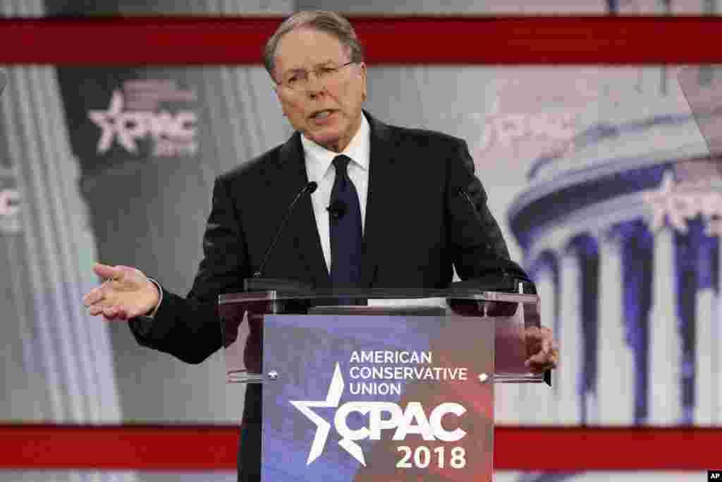 Wayne La Pierre, le vice-président de la NRA, à la conférence d'Action Politique Conservatrice (CPAC), à National Harbor dans le Maryland, le 22 février 2018.