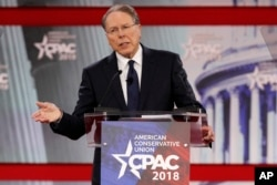 FILE- In this Thursday, Feb. 22, 2018, file photo, National Rifle Association Executive Vice President and CEO Wayne LaPierre, speaks at the Conservative Political Action Conference (CPAC), at National Harbor, Md.