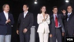 Los precandidatos de Unidad Democrática en el debate: Diego Arria, Leopoldo López, María Corina Machado, Henrique Capriles Radonski y Pablo Pérez.