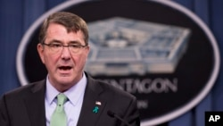FILE - U.S. Defense Secretary Ash Carter is seen at a news conference at the Pentagon, May 1, 2015.