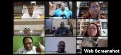 Diskusi daring dengan tema Tantangan Multidimensional Penanganan Covid-19 di Tanah Papua, Kamis 11 Juni 2020. (Tangkapan layar).