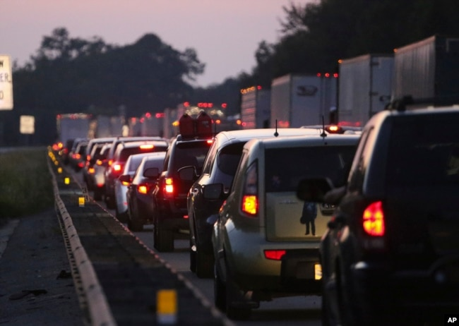 Traffic back-ups are seen in the northbound lanes of Interstate 75 near the Georgia-Florida state line as people try to escape Hurricane Irma, Sept. 8, 2017, in Jennings, Florida.